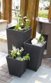 Brazilia Black Wicker Planters - Set of 3