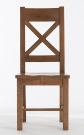 Farm House Cross Back Chair with Wooden Seat
