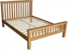 Modern Oak Classic Double Bed - High foot end