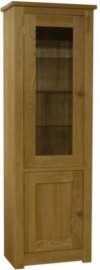 Torino 1 Door Glass & Oak Bookcase