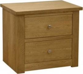 Torino 2 Drawer Wide Oak Bedside Cabinet