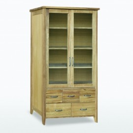 Windsor Bookcase with glass doors & 5 drawers by Telnita.